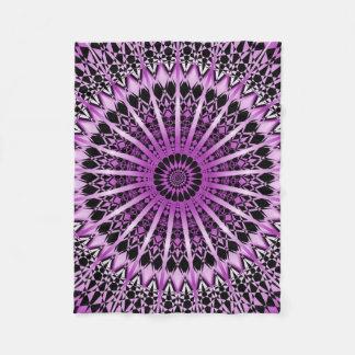 Purple Metallic Black Mandala Fleece Blanket