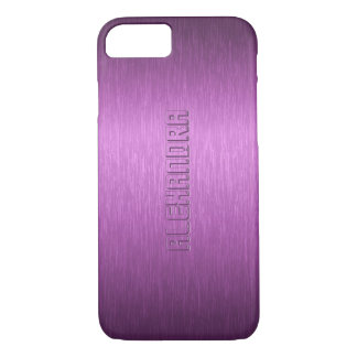 Purple Metallic Brushed Aluminum Look Monogram iPhone 8/7 Case