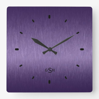 Purple Metallic Design Brushed Steel Look Square Wall Clock