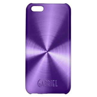 Purple Metallic Design Stainless Steel Look Case For iPhone 5C