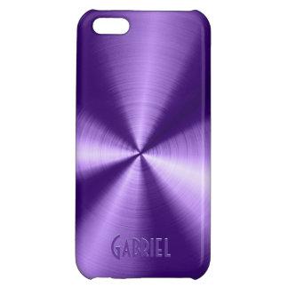 Purple Metallic Design Stainless Steel Look Case For iPhone 5C