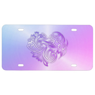 Purple Metallic Floral Heart License Plate