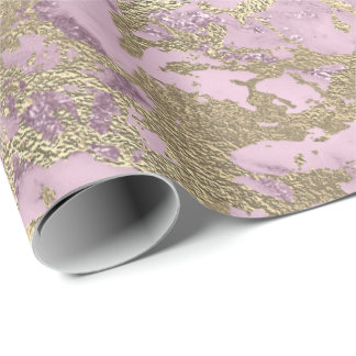 Purple Metallic Lilac Mauve Marble Stone Metallic Wrapping Paper