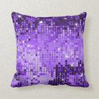 Purple Metallic Sequins Glitter Abstract Pixel Art Throw Pillow
