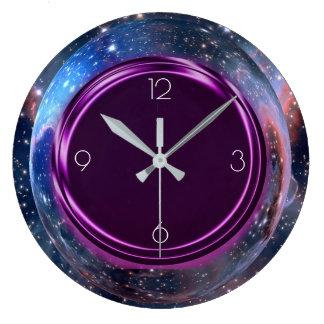 Purple, Metallic, Space, Stars, Large Clock