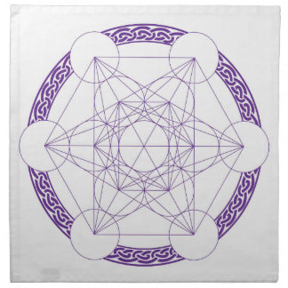 Purple Metatrons Cube Crystal Grid Napkins