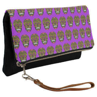 Purple Mexican Sugar Skull Day Of The Dead Clutch