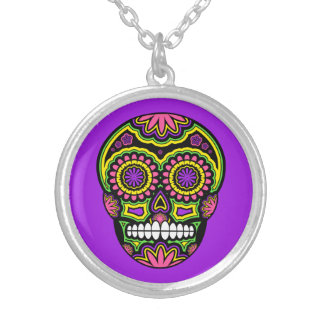 Purple Mexican Sugar Skull Day Of The Dead Silver Plated Necklace