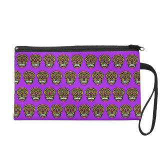 Purple Mexican Sugar Skull Day Of The Dead Wristlet
