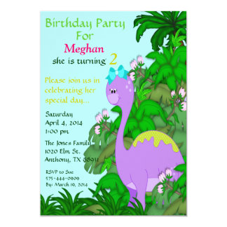 Purple Miss Dino Birthday Invitation
