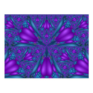 Purple Mixed Fractal Flower Postcard