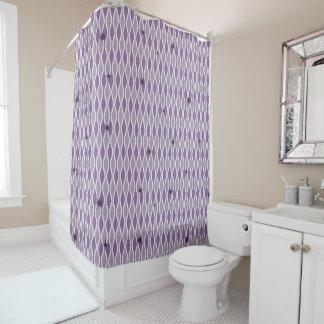 Purple Mod Hourglass & Sputniks Shower CurtainAcce