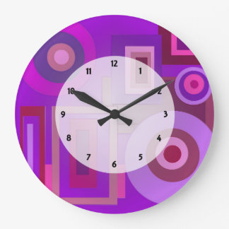 Purple Mod Squares Circles Abstract Large Clock