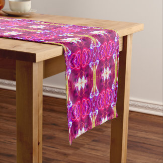 Purple Modern Abstract Pattern Short Table Runner