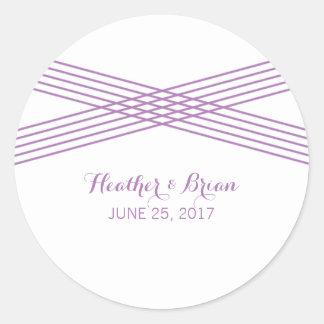 Purple Modern Deco Wedding Stickers
