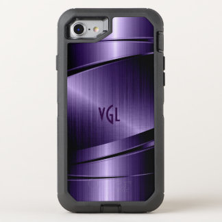Purple Modern Metallic Texture Geometric Design OtterBox Defender iPhone 8/7 Case