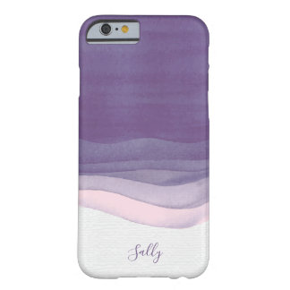 Purple, Modern Watercolor Monogram Barely There iPhone 6 Case