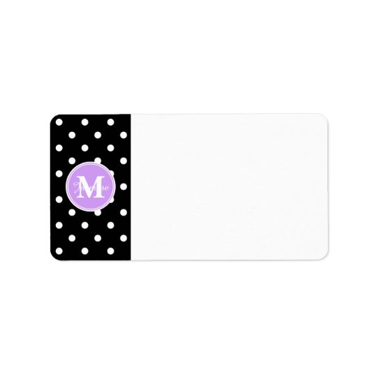 Purple Monogram Black White Polka Dots