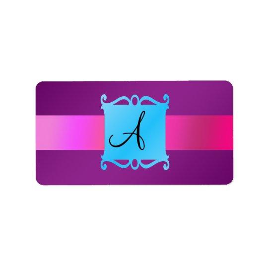 Purple monogram fancy emblem label