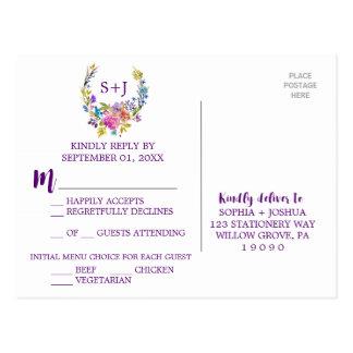 Purple Monogram Floral Wreath Menu Choice RSVP Postcard