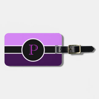 Purple Monogram Initial Modern Chic Travel Bag Luggage Tag