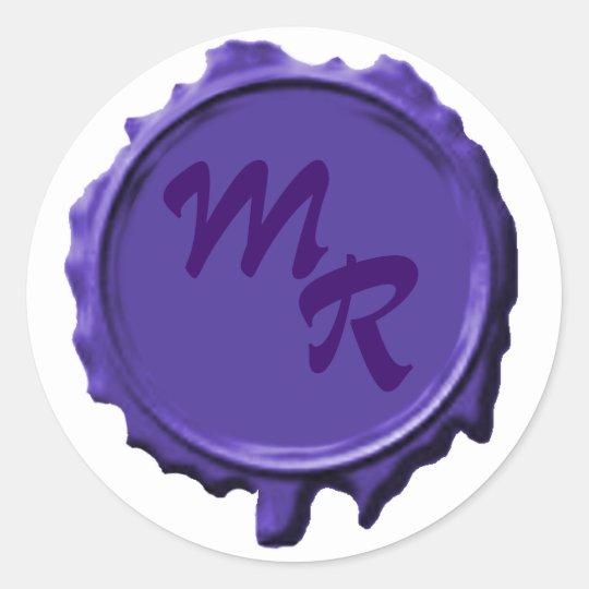 Purple Monogram Seal Wedding Stickers