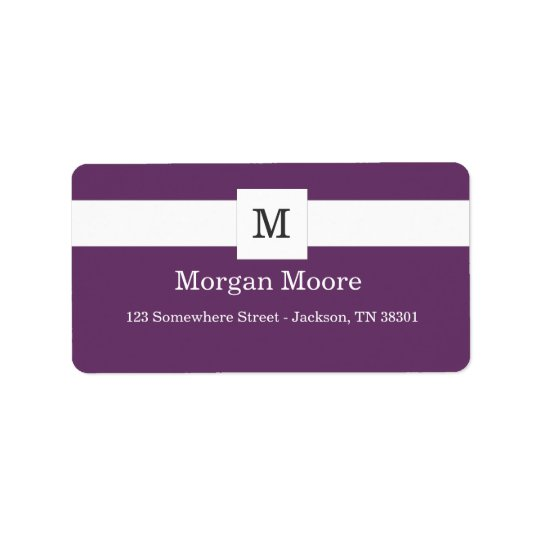 Purple Monogram Style Address Labels