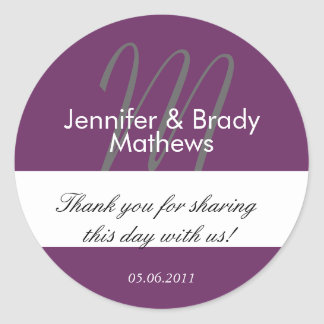 Purple Monogram Thank You Wedding Favor Stickers
