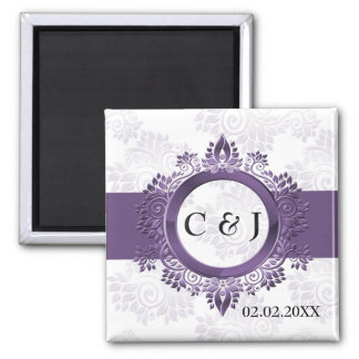 purple monogram wedding save the date magnets