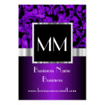 Purple monogrammed damask pack of chubby business cards