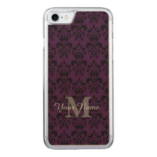 Purple monogrammed damask pattern carved iPhone 8/7 case