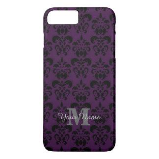 Purple monogrammed damask pattern Case-Mate iPhone case