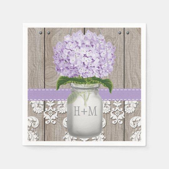 Purple Monogrammed Hydrangea Mason Jar Paper Napkins