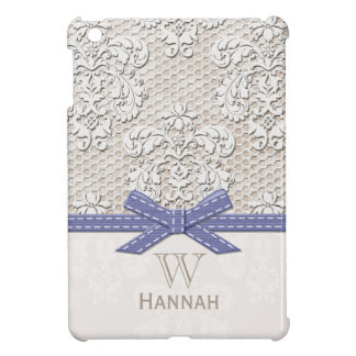 Purple Monogrammed Vintage Lace Case For The iPad Mini