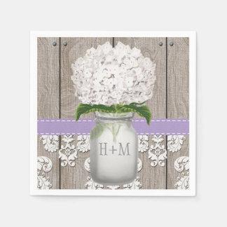 Purple Monogrammed White Hydrangea Mason Jar Paper Napkins