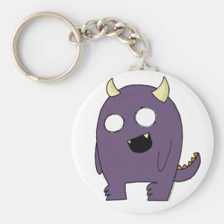 Purple Monster Basic Round Button Keychain