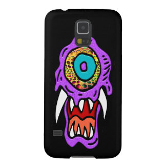 Purple Monster on Black Background Galaxy S5 Covers
