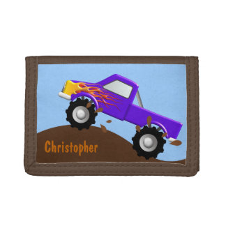 Purple Monster Truck Personalized Wallet