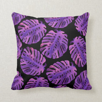 Purple Monstera Jungle Leaves Pillow
