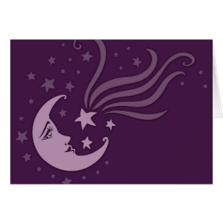 purple moon and stars notecard
