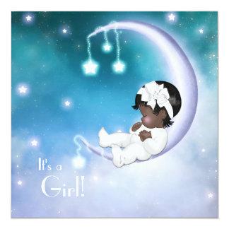 Purple Moon Ethnic Baby Girl Shower Card