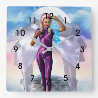Purple Moon Fairy Clock