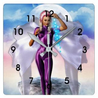 Purple Moon Fairy Square Wall Clock