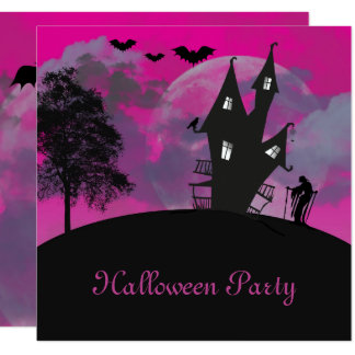 Purple Moon & Witches House Halloween Card