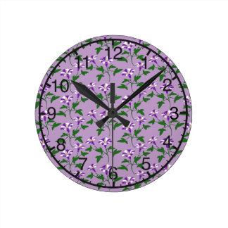 Purple Morning Glories Floral Pattern Wallclocks