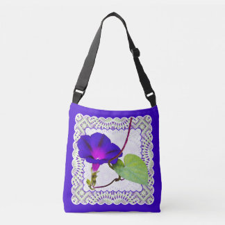 Purple Morning Glory Floral Photography and Lace Crossbody Bag