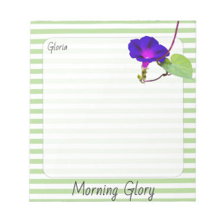 Purple Morning Glory Floral Photography Striped Notepad