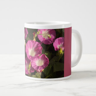 Purple morning glory flowers jumbo beverage mug. large coffee mug