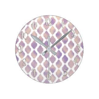 Purple Moroccan Chic Pretty Glam Pattern Round Clock
