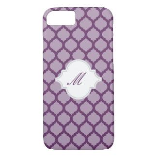 Purple Moroccan Pattern w/ Monogram iPhone 7 Cases